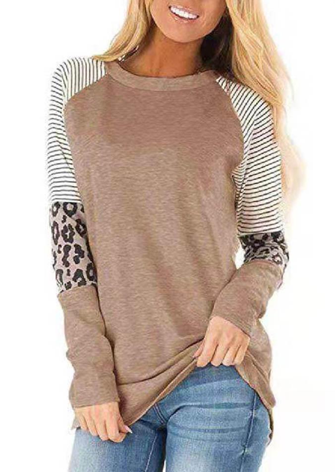 Tees T-shirts Striped Splicing Leopard T-Shirt Tee in Khaki. Size: S,M,L,XL фото