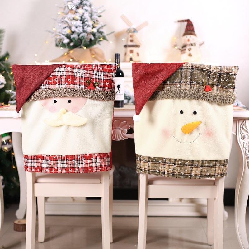 Plaid Santa Claus Chair Back Cover Christmas Decor ...