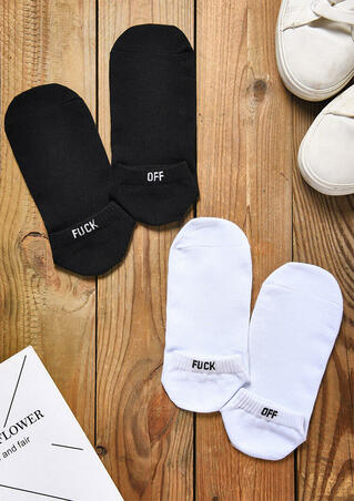 2 Pairs Fuck Off Embroidery Short Socks