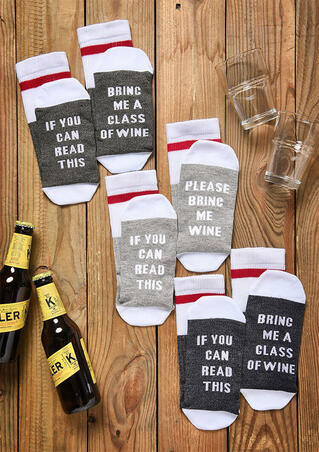 3 Pairs Bring Me A Glass Of Wine Socks