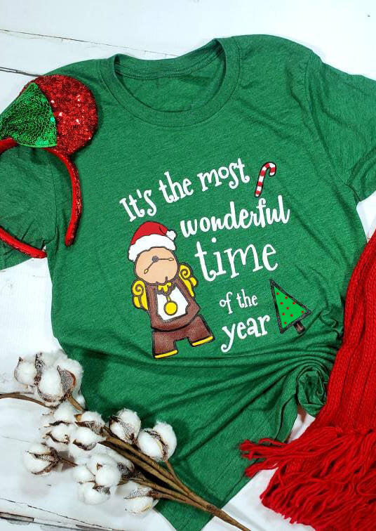 It's The Most Wonderful Time Of The Year Christmas T-Shirt Tee - Green фото