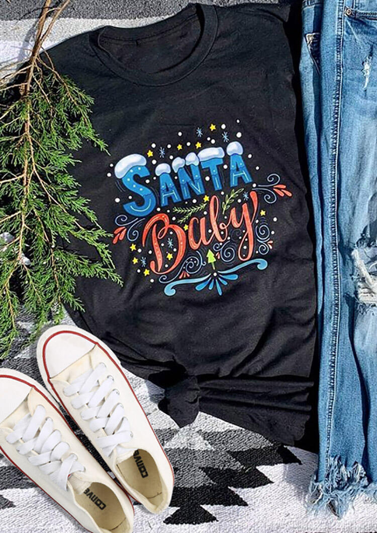 Santa Baby T-Shirt Tee – Black