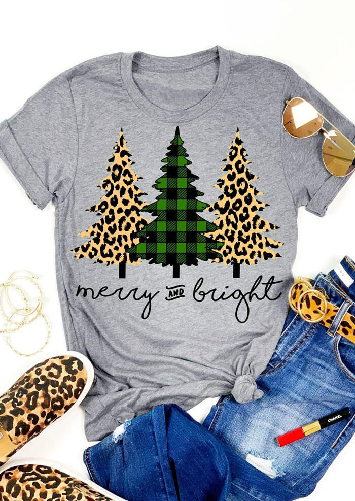 Leopard Printed Plaid Christmas Trees Merry And Bright T-Shirt Tee - Gray