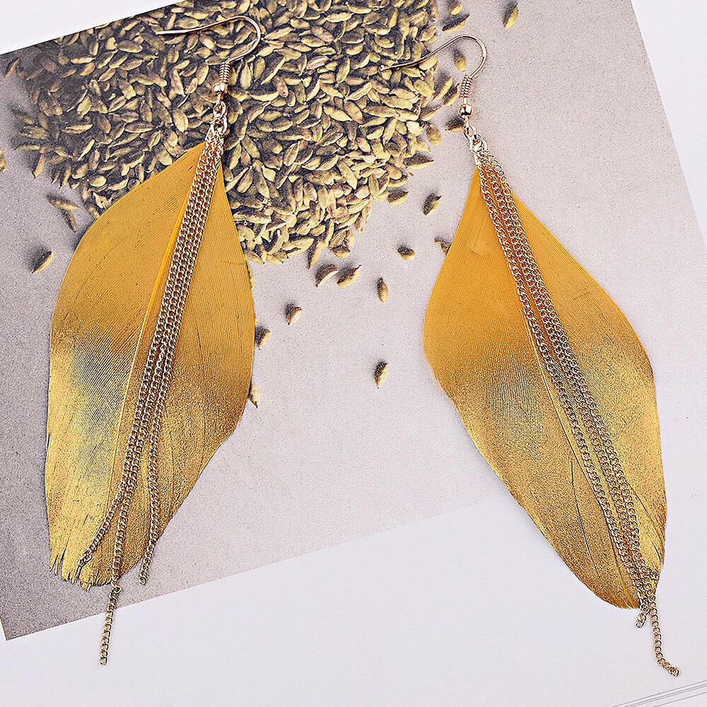 Chain Tassel Feather Earrings