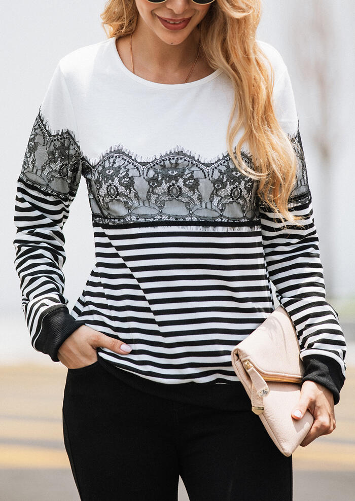 Striped Lace Splicing Sweatshirt without Necklace – White