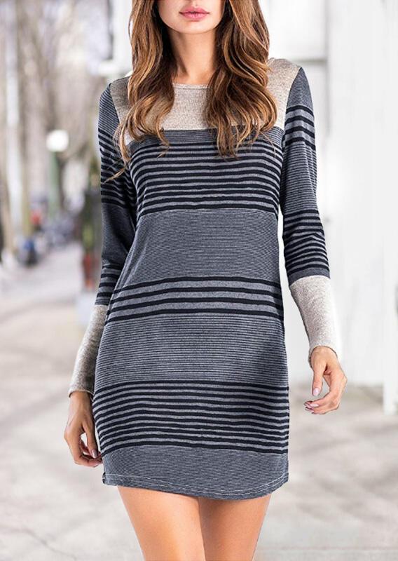 Striped Splicing Pocket Long Sleeve Mini Dress – Gray