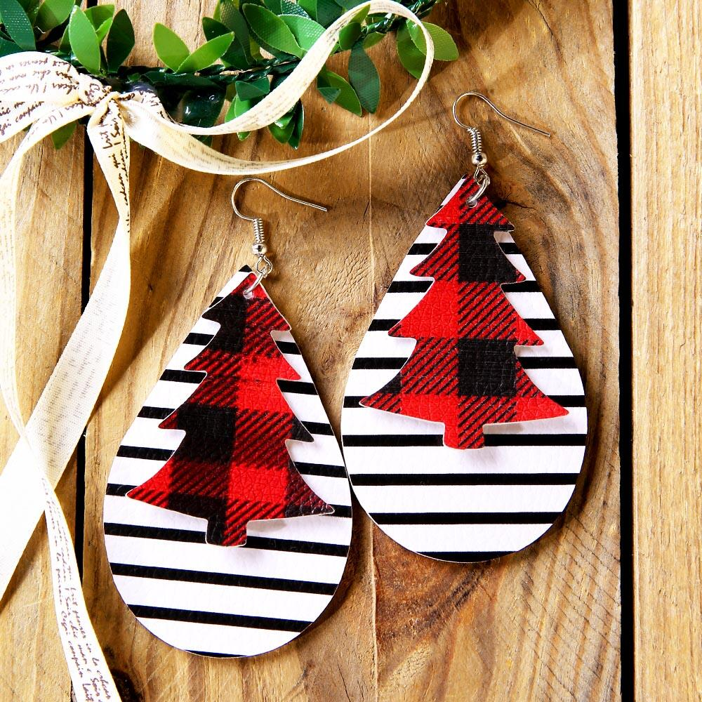 Christmas Tree Plaid Striped Dual-Layered Earrings