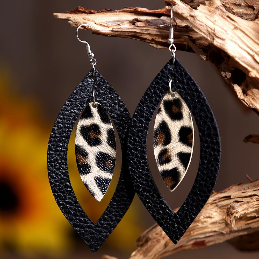 Leopard Printed Hollow Out Pendant Earrings фото