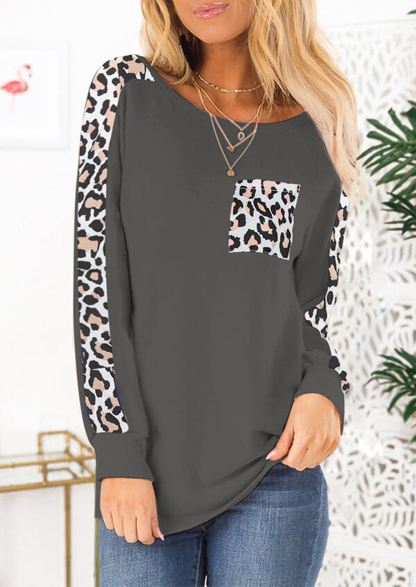Leopard Printed Pocket T-Shirt Tee without Necklace – Gray