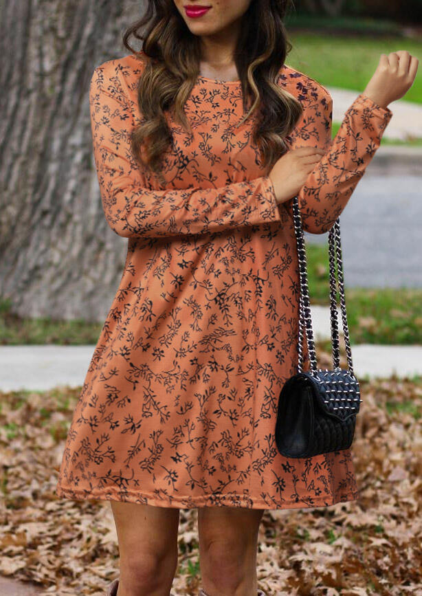 Printed Long Sleeve O-Neck Mini Dress – Orange