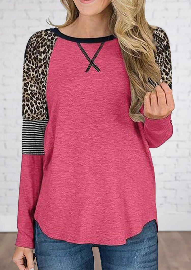 Leopard Printed Striped Splicing Blouse – Red