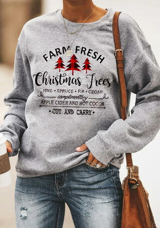 Farm Fresh Christmas Trees Sweatshirt without Necklace - Gray