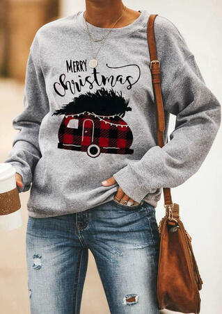 Merry Christmas Plaid Splicing Sweatshirt without Necklace - Gray