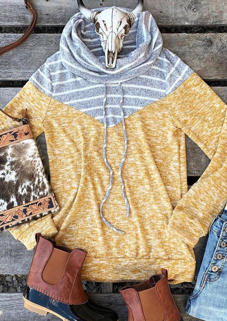 Striped Splicing Drawstring Cowl Neck Blouse – Yellow
