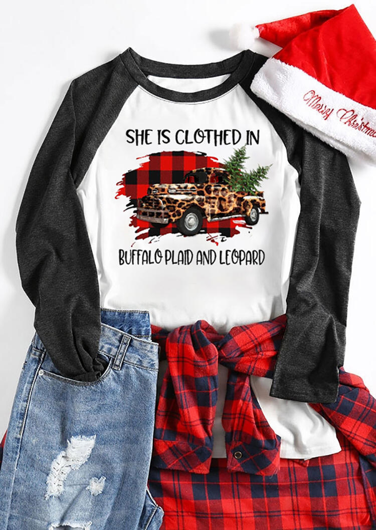 She Is Clothed In Buffalo Plaid And Leopard Printed Christmas Tree T-Shirt Tee –  White