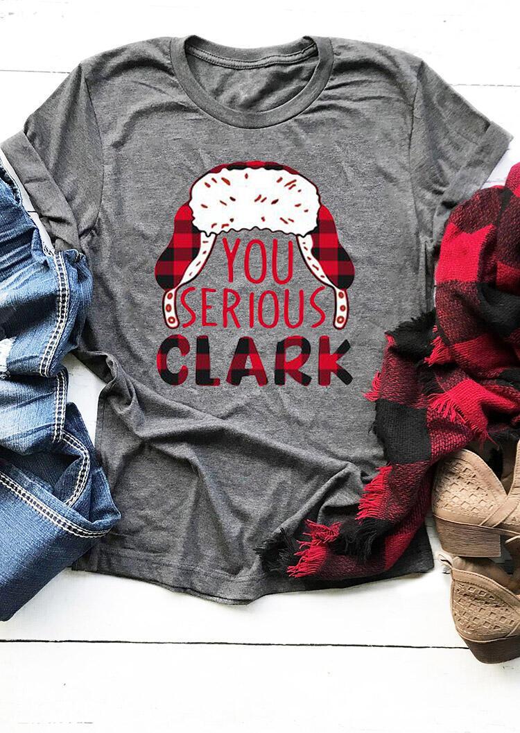 You Serious Clark Plaid Printed Splicing T-Shirt Tee – Gray