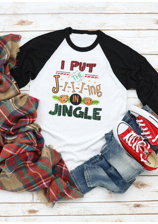 Christmas Plaid I Put The J-I-I-I-ing In Jingle T-Shirt Tee - White
