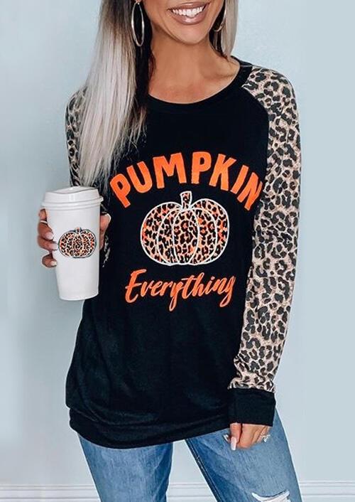 Leopard Printed Splicing Pumpkin Everything T-Shirt Tee – Black