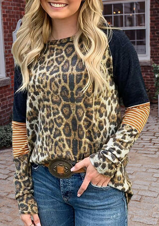 Leopard Printed Striped Splicing T-Shirt Tee