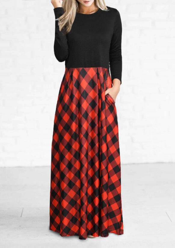 Plaid Pocket Long Sleeve Maxi Dress - Red фото