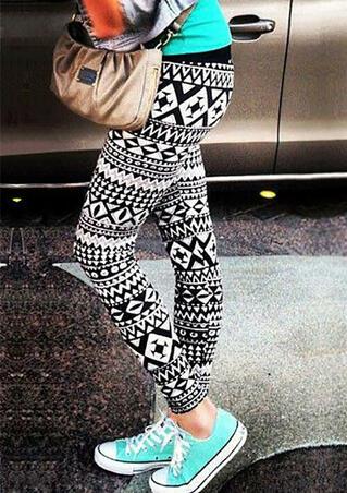 Geometric Printed Skinny Leggings - White