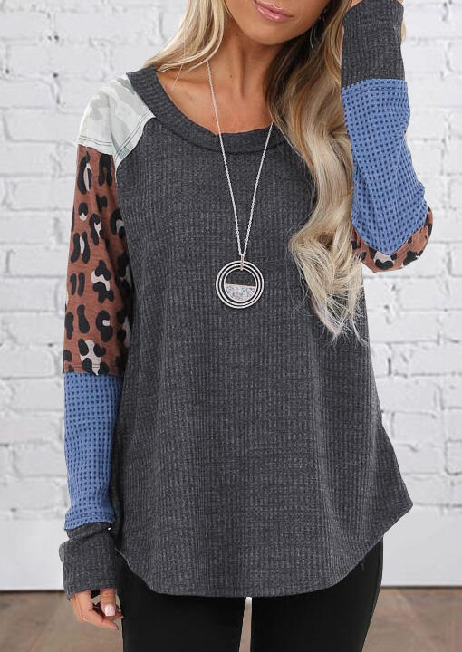 Leopard Camouflage Printed Color Block Splicing Blouse without Necklace – Gray