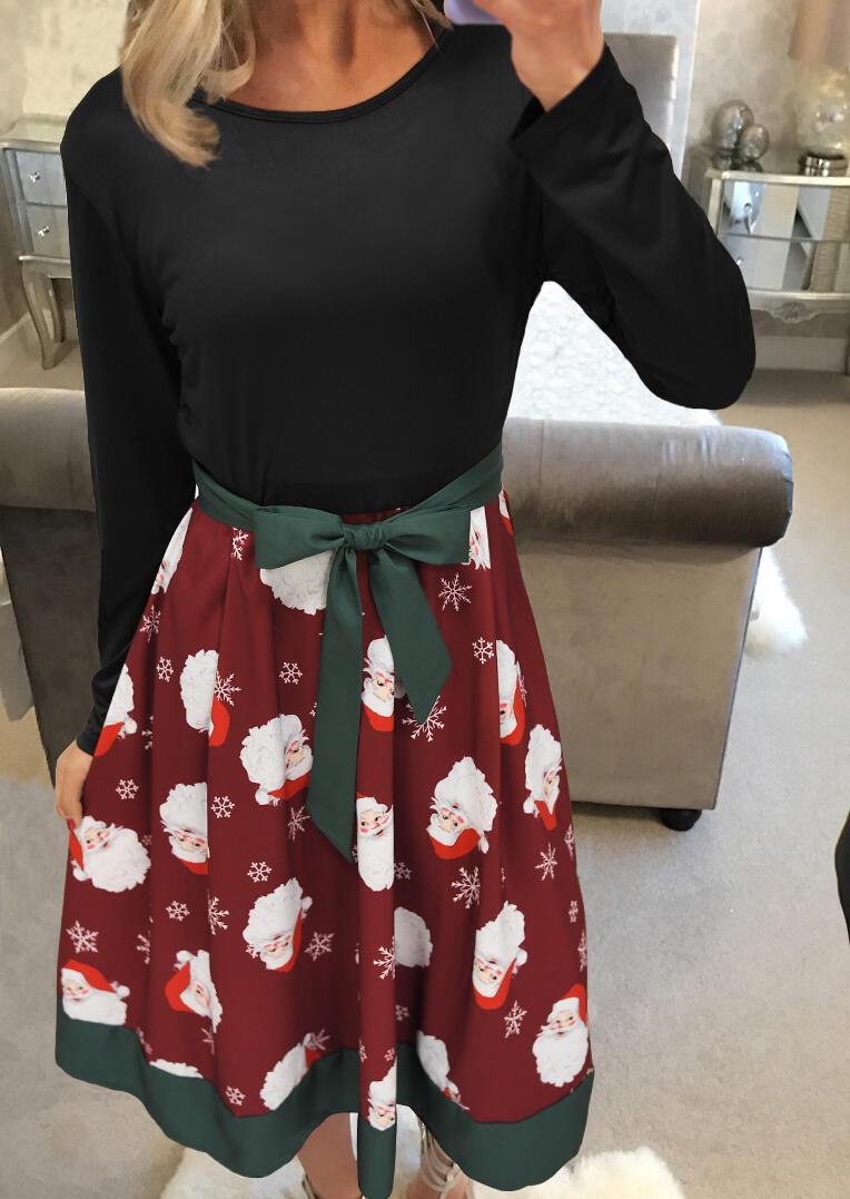 Christmas Santa Claus Snowflake Casual Dress with Belt – Burgundy