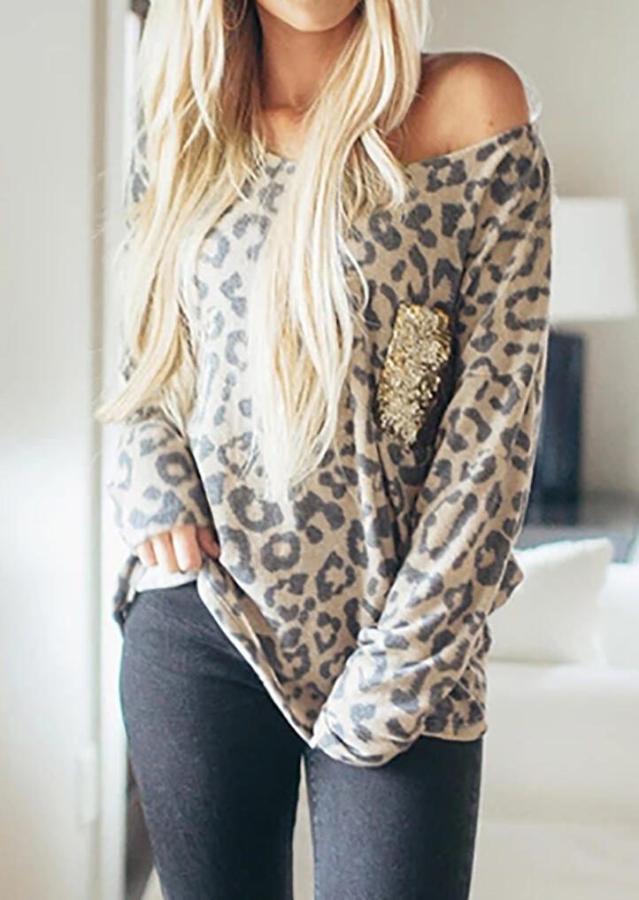 Leopard Printed Sequined Pocket T-Shirt Tee