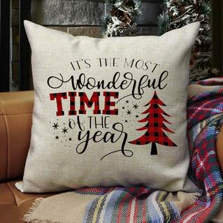 Christmas Tree It's The Most Wonderful Time Pillowcase without Pillow