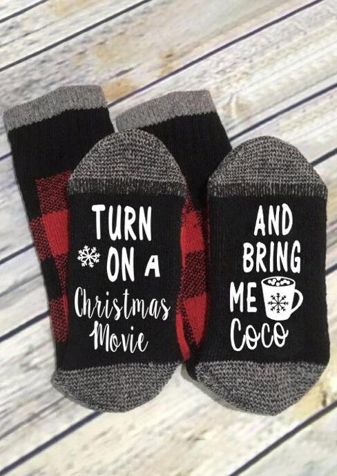Plaid Turn On A Christmas Movie Socks
