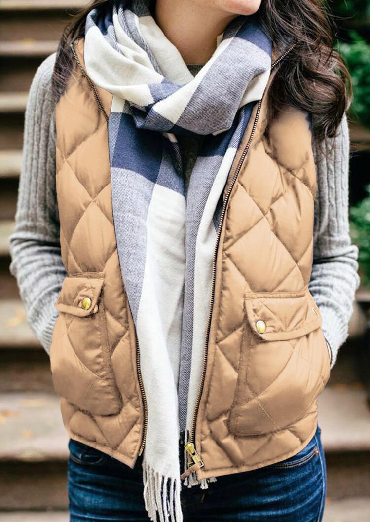 Solid Zipper Pocket Thickened Vest Coat – Khaki