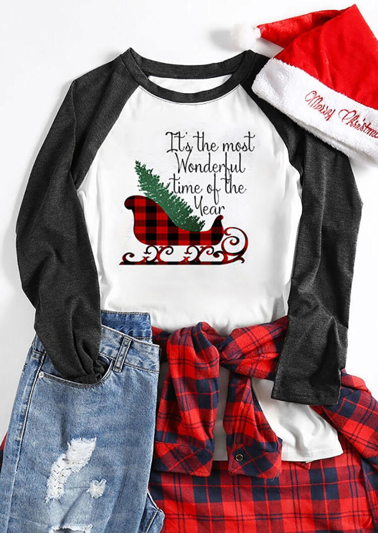 It's The Most Wonderful Time Of The Year Christmas Sleigh Plaid Splicing T-Shirt Tee - White фото
