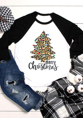 Merry Christmas Tree Leopard Printed Splicing T-Shirt Tee - White