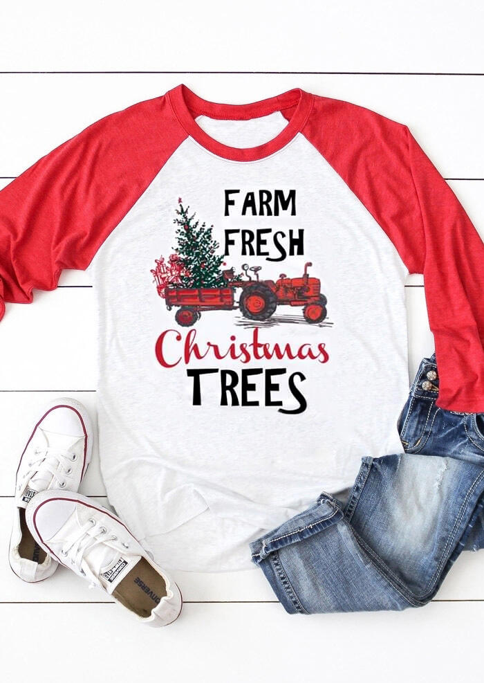 Farm Fresh Christmas Trees T-Shirt Tee - White фото