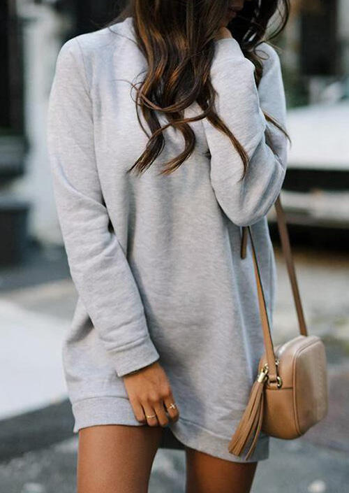 Solid O-Neck Long Sleeve Mini Dress – Light Grey