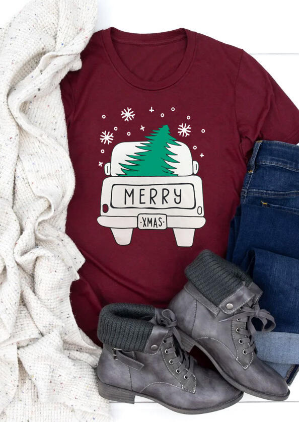 Merry Christmas Tree Snowflake T-Shirt Tee – Burgundy