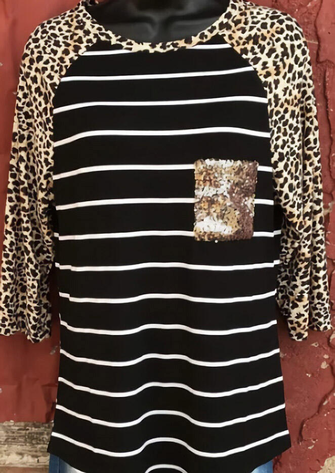 Striped Splicing Leopard Printed Sequined Pocket T-Shirt Tee – Black