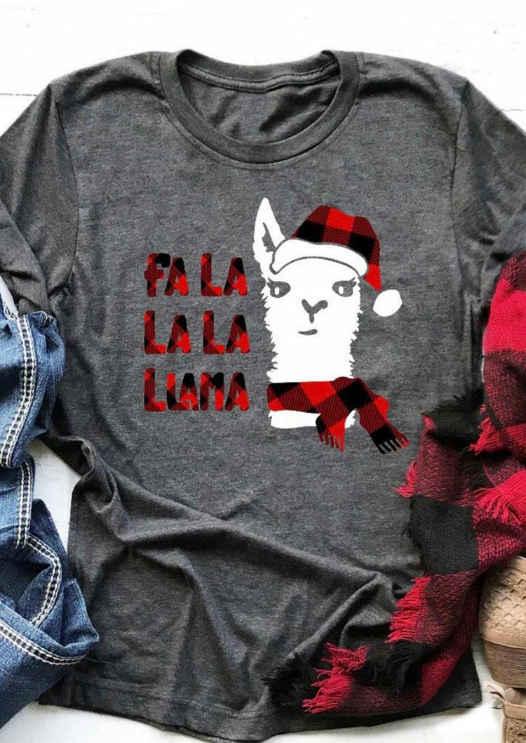 Christmas Plaid Printed Fa La La La Llama T-Shirt Tee – Gray