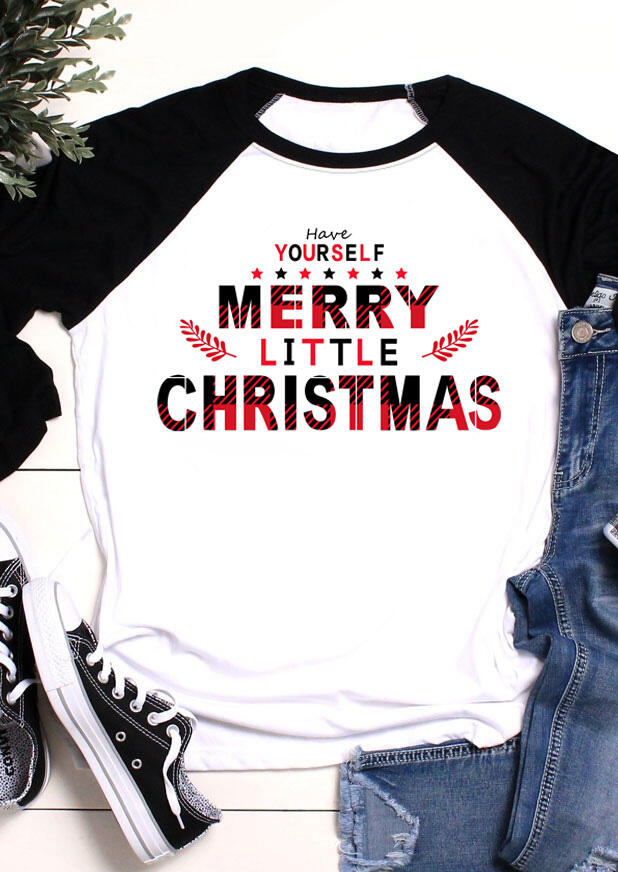 Tees T-shirts Have Yourself Merry Little Christmas T-Shirt Tee in White. Size: S,M,L фото