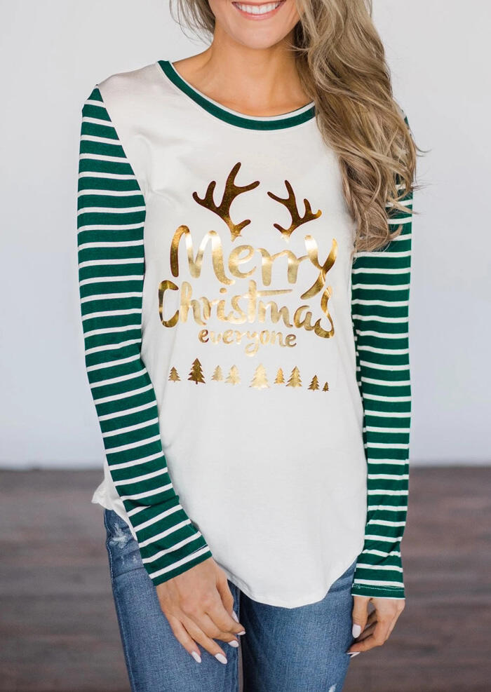 Tees T-shirts Striped Splicing Hot Stamping Merry Christmas Everyone T-Shirt Tee - White. Size: S,M,L фото