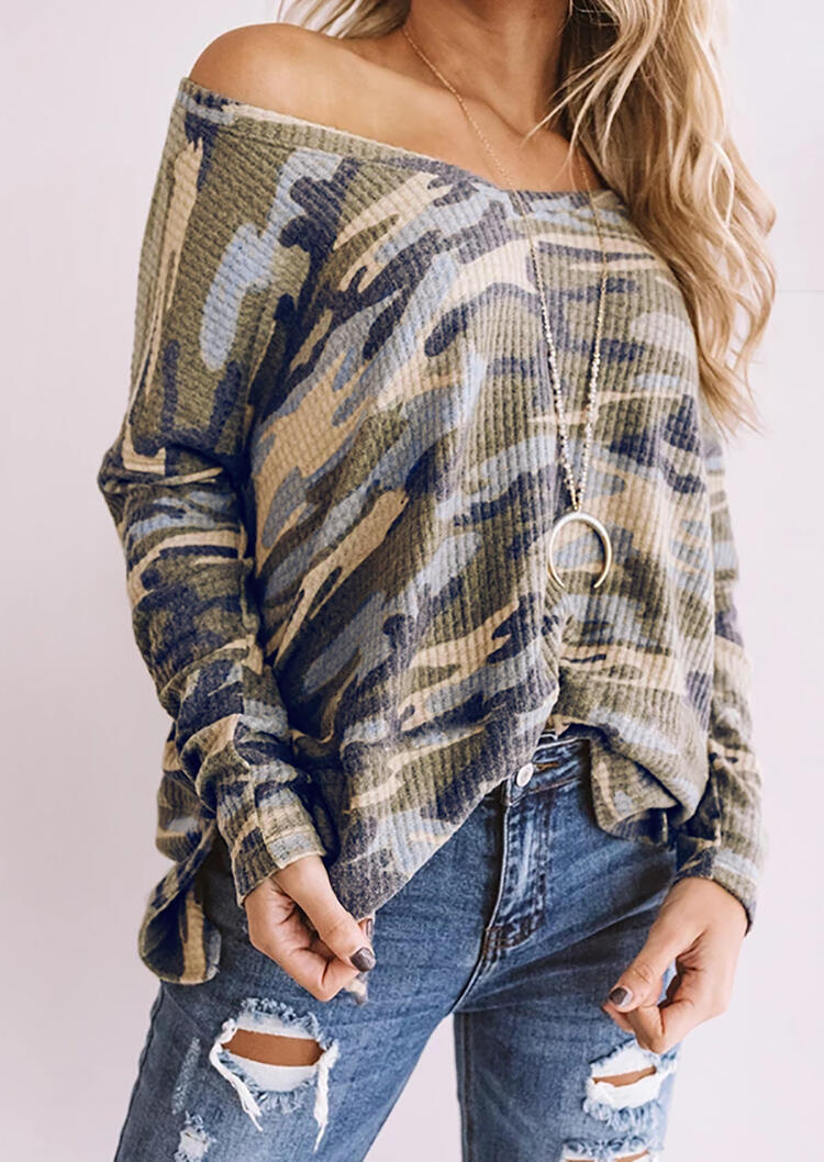 Camouflage Printed V-Neck Blouse without Necklace