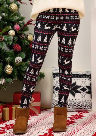 Christmas Reindeer Snowflake Leggings - Black