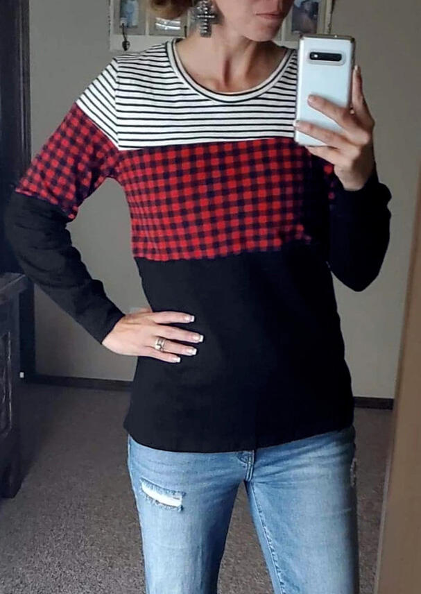 Striped Plaid Printed Splicing T-Shirt Tee