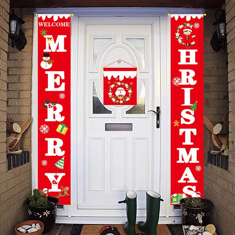3 Pieces/Set Merry Christmas Curtain Decoration Door Hanging Painting