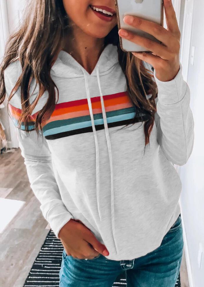 Hoodies & Sweatshirts Colorful Striped Splicing Drawstring Hoodie - Light Grey. Size: S,M,L,XL