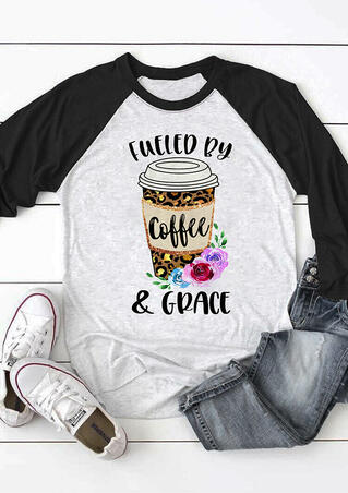 Fueled By Coffee & Grace Leopard Floral Printed T-Shirt Tee - Gray