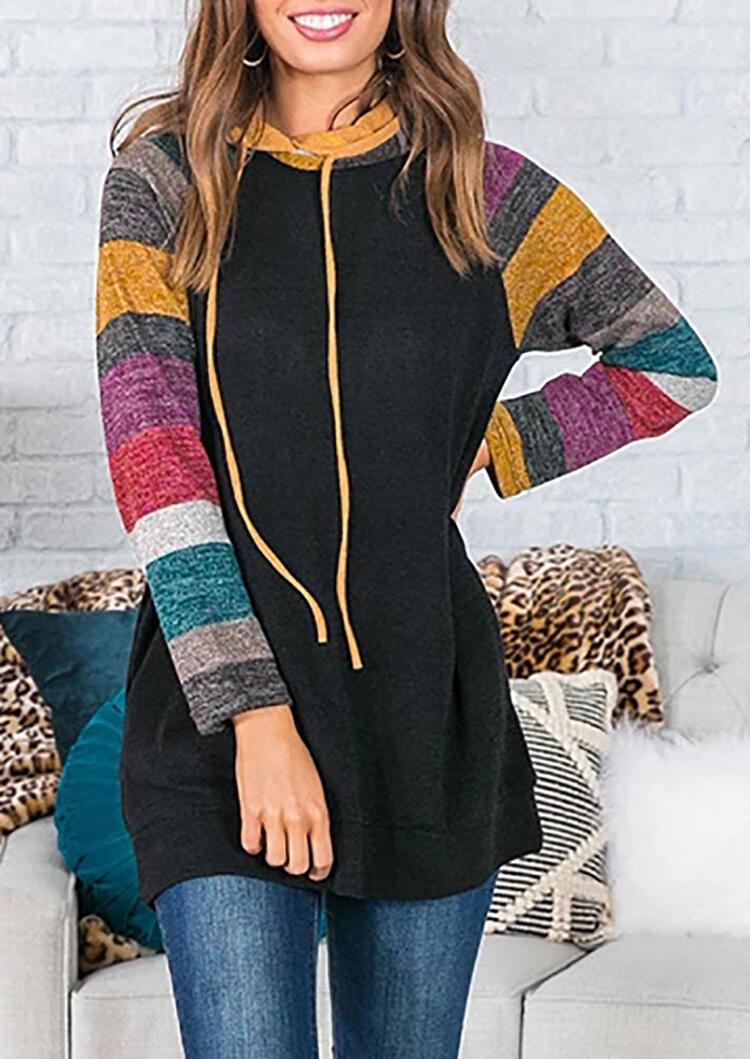 Striped Color Block Splicing Drawstring Hoodie – Black