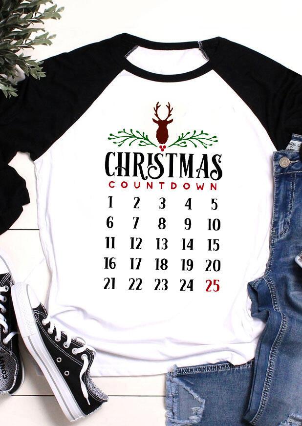 Christmas Countdown Reindeer T-Shirt Tee – Black