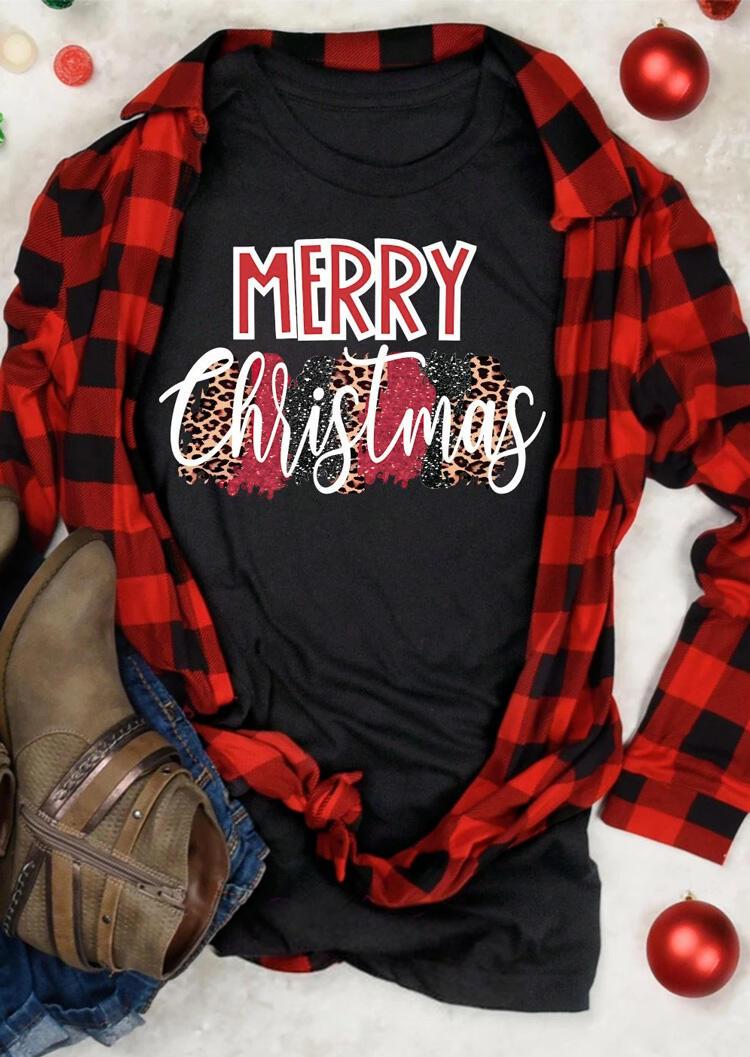 Leopard Printed Merry Christmas T-Shirt Tee – Black