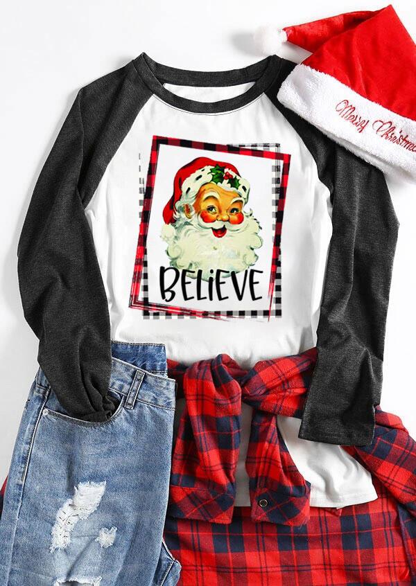 Plaid Santa Claus Believe T-Shirt Tee – White